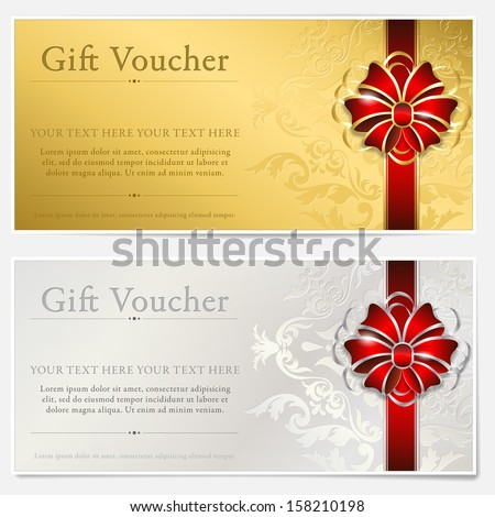 Gold silver gift voucher 158210198 shutterstock gold and silver gift voucher negle Image collections