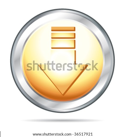 Gold and silver glass button arrow down direction. Vector illustration. - stock vector