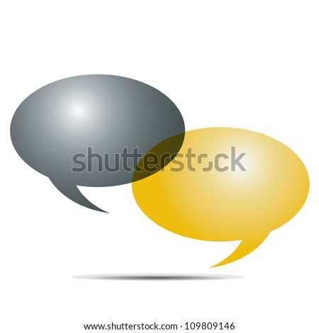 Gold and silver speech bubbles eps10 - stock vector