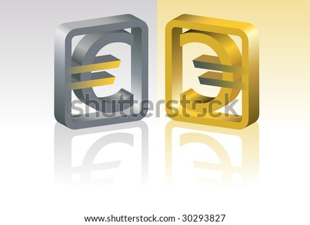 Gold and silver symbol of euro. A vector. Without mesh.