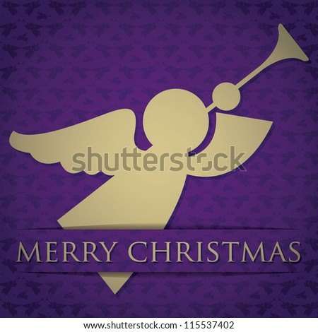 "Gold angel ""Merry Christmas"" card in vector format. - stock vector"