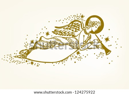 Gold Angel with the trumpet flying in the clouds - vector illustration - stock vector