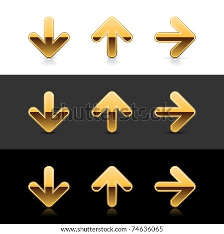 Gold arrow icon web 2.0 buttons with reflection and shadow on white, gray and black - stock vector