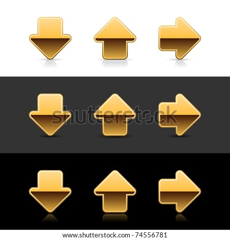 Gold arrow sign web 2.0 icon with shadow and reflection on white, gray and black - stock vector