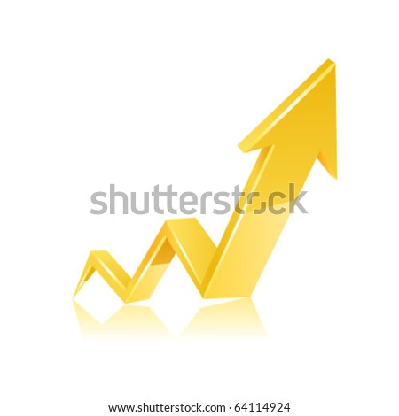 Gold arrow. Vector - stock vector