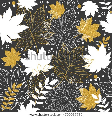 Gold autumn leaves seamless pattern with gold glitter texture. Stylish background, textile or wrapping paper design. Vector illustration