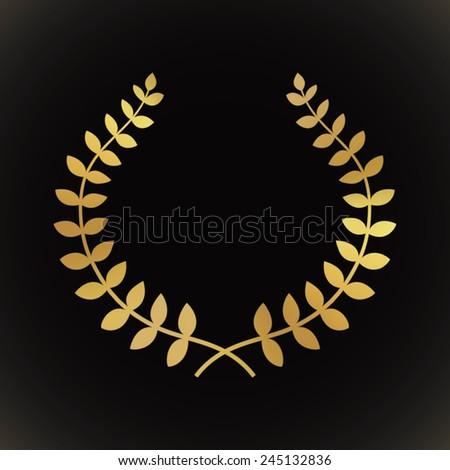 Gold award laurel wreath on dark background. - stock vector
