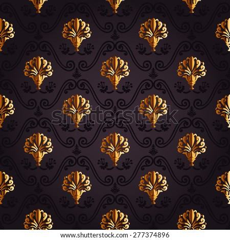 gold background. Seamless wallpaper decor vintage - stock vector