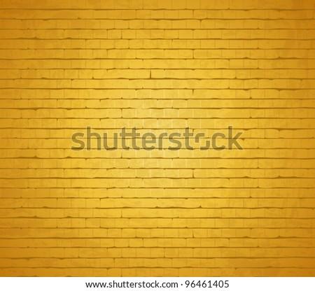 Gold background. vector brick wall. - stock vector