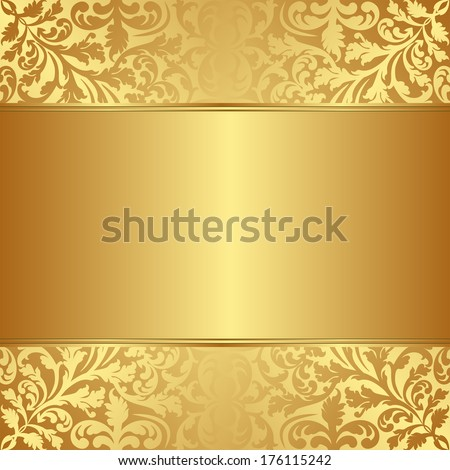gold background with floral ornaments - stock vector