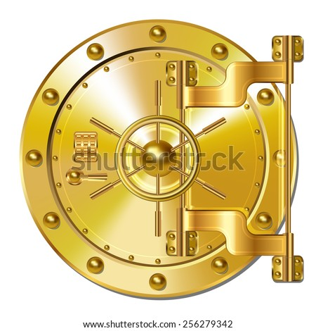 Gold Bank doors - stock vector