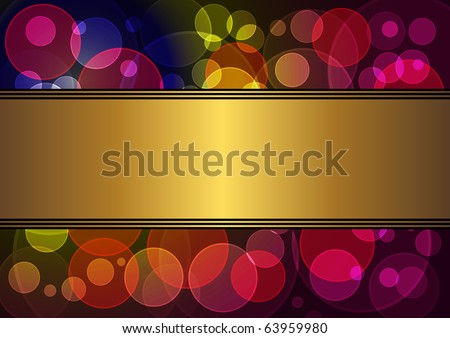 gold banner with a background of transparent circles. vector 10eps. - stock vector