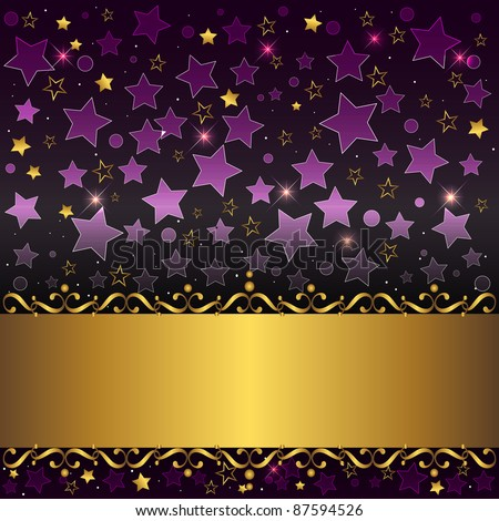 Gold banner with curlicues on stars background. 10eps vector. - stock vector