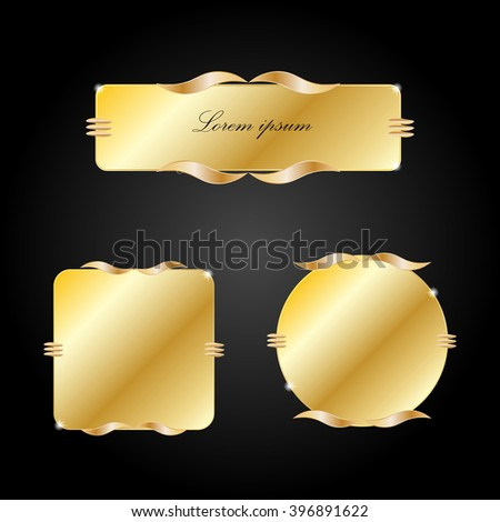 gold banners set on a black background - stock vector