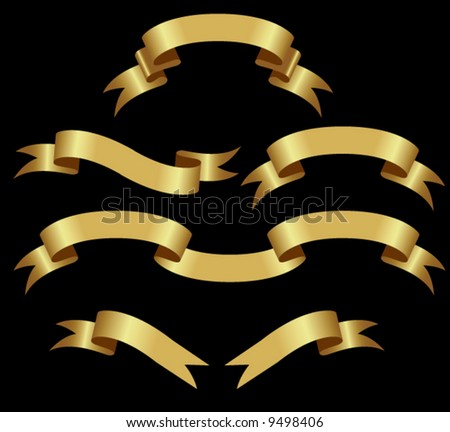 Gold Banners. vector illustration