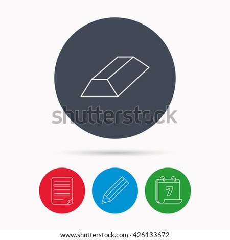 Gold bar icon. Banking treasure sign. Calendar, pencil or edit and document file signs. Vector - stock vector