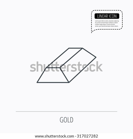 Gold bar icon. Banking treasure sign. Linear outline icon. Speech bubble of dotted line. Vector