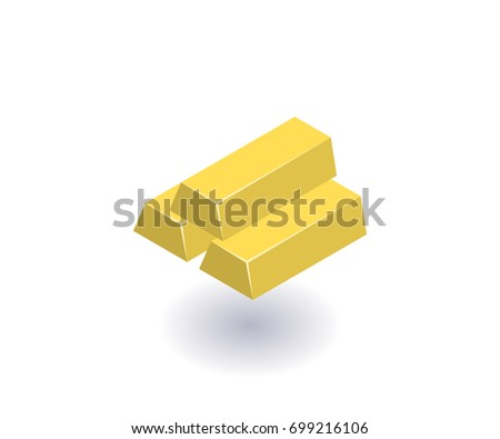 Gold bars icon, vector symbol in flat isometric 3D style isolated on white background.