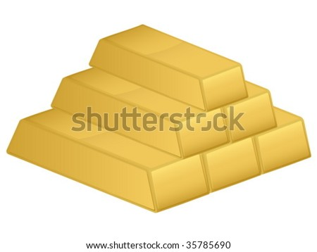 Gold bars isolated on a white background. Vector illustration.