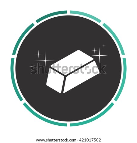 gold bars Simple flat white vector pictogram on black circle. Illustration icon - stock vector