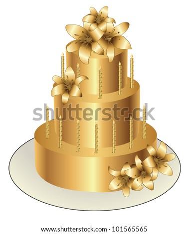 Gold Birthday Cake Vector Design Stock Vector HD Royalty Free