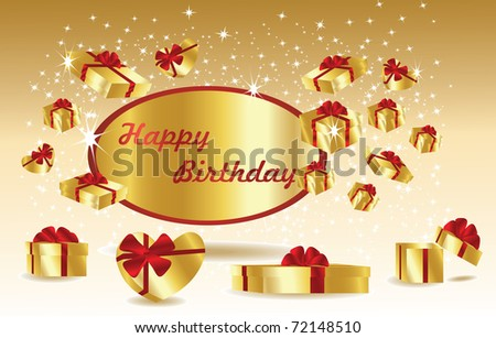gold birthday card with gifts - stock vector