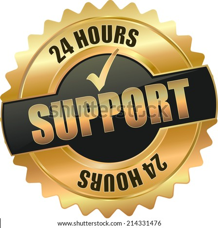 gold black 3d vector eps10 24 hours support badge sign - stock vector