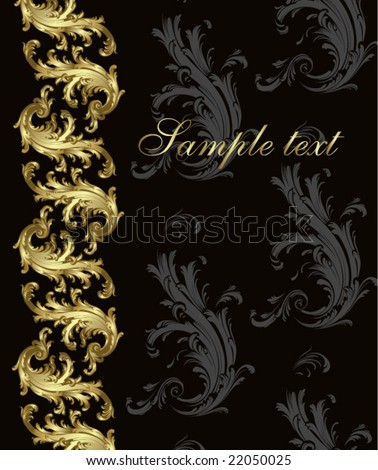 Gold-black festive card vector - stock vector