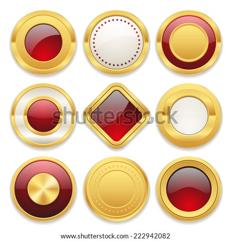 Gold blank badge collection on white background - stock vector
