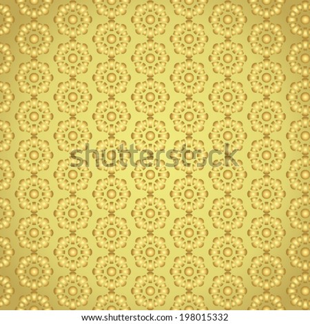 Gold blossom pattern on pastel background. Sweet vintage bloom pattern style for retro or modern design