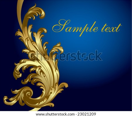 Gold-blue festive card - stock vector
