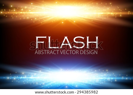 Gold & blue light design. Illuminated illustration. Electric flash for your business design.  Vector illustration. - stock vector
