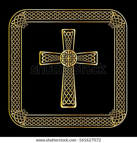 Gold Border Frame Celtic Cross Isolated Stock Photo Photo Vector