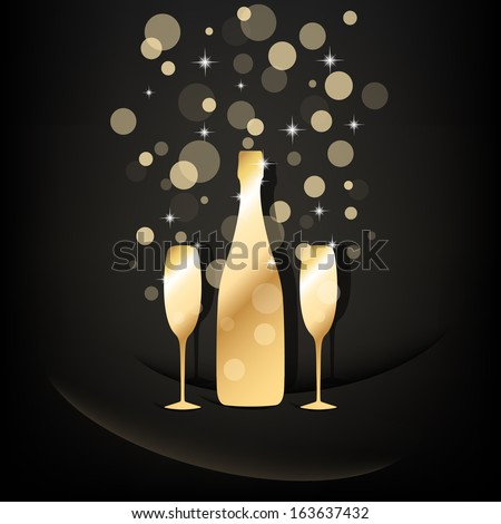 Gold bottle and two glasses of champagne with transparent bubbles on black background. Vector version. - stock vector