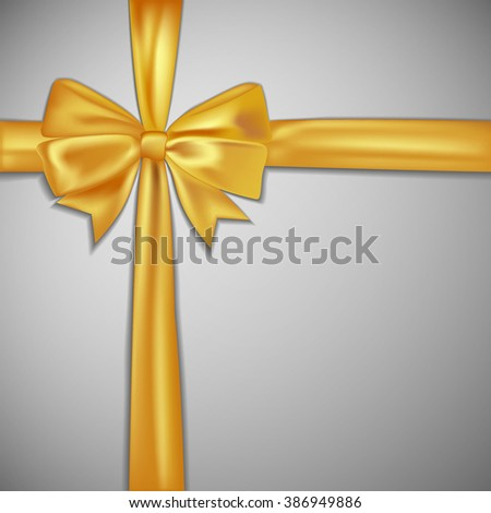 Gold Bow And Ribbon. Vector Holiday Illustration. Decoration Element For Design