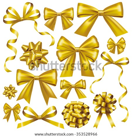 Gold bow set - stock vector