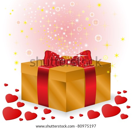 gold box with a red bow on sparkling background