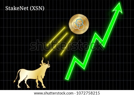 Gold Bull Throwing Stake Net XSN Cryptocurrency Stock Vector