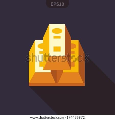 Gold bullion flat icon - stock vector