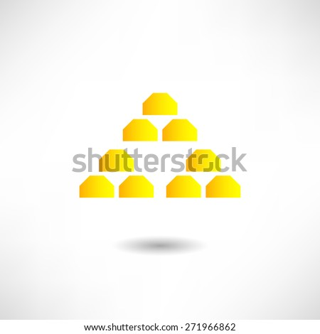 Gold bullion icon - stock vector