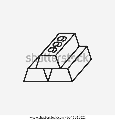 Gold bullion line icon - stock vector