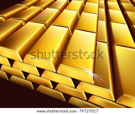 Gold bullion. Vector illustration. - stock vector