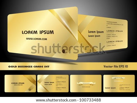 Gold business cards set