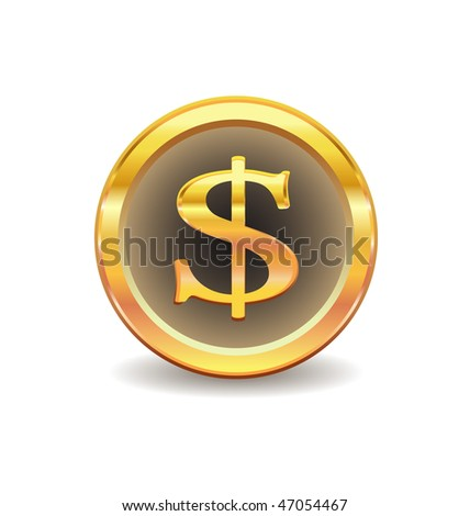 gold button with dollar sign