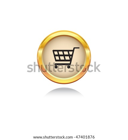 gold button with shopping symbol - stock vector