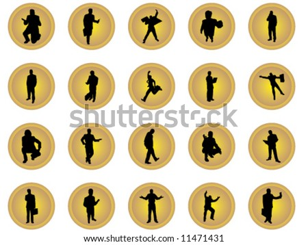 Gold buttons of businessmen in many positions