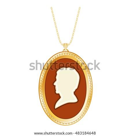 Gold cameo locket vintage gentleman antique stock vector 483184648 gold cameo locket vintage gentleman antique silhouette chain necklace engraved oval keepsake aloadofball Images