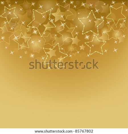 Gold card  with  stars - stock vector
