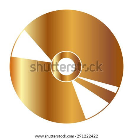 Gold CD or DVD icons  - stock vector