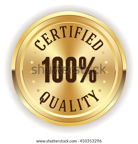 Gold certifie quality button, badge with on white background